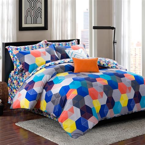 multi colored bedding blue orange and yellow grey colorful bohemian multi