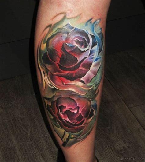 colored rose tattoos 36 fancy tattoos on leg