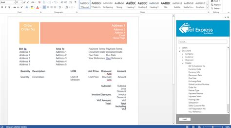 word layout in nav 2015 using jet express for word and microsoft dynamics nav 2015