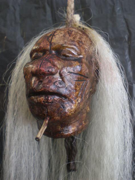 replica shrunken head tsantsa decoration