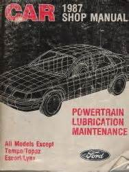 car maintenance manuals 1987 ford tempo instrument 1987 ford car all models except tempo topaz escort and