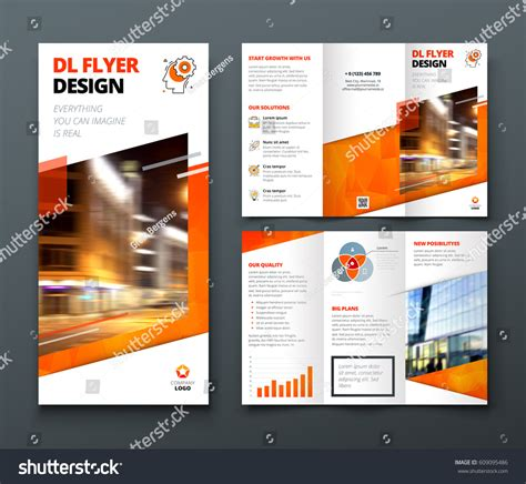 dl brochure template tri fold brochure design orange dl stock vector 609095486