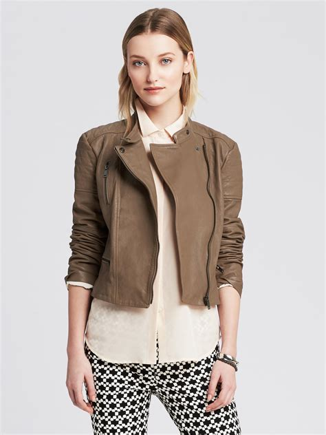 womens brown moto taupe leather jacket womens fit jacket