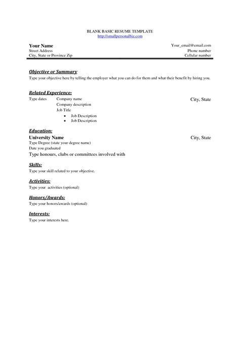 printable basic resume templates basic resume outline template resume builder