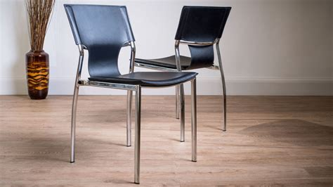 Trendy Dining Chairs Serroni Trendy Chrome Dining Chair Modern Black Or White Faux Leather
