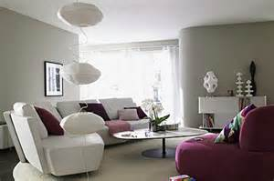 Gray purple modern gray living room with purple as accent color