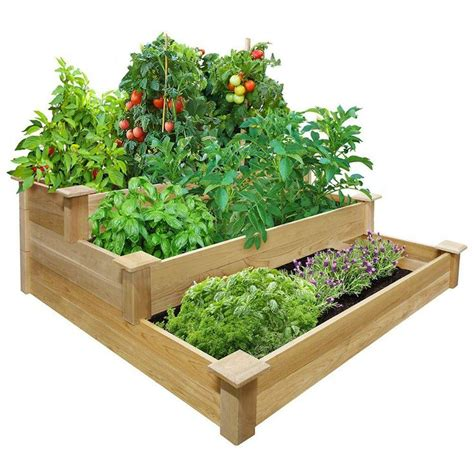 Greenes Fence Raised Beds by 4 Ft X 4 Ft X 21 In 3 Tiered Cedar Raised Garden Bed