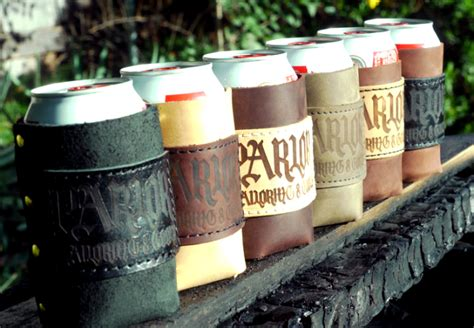 Handmade Koozies - custom leather koozies gearmoose