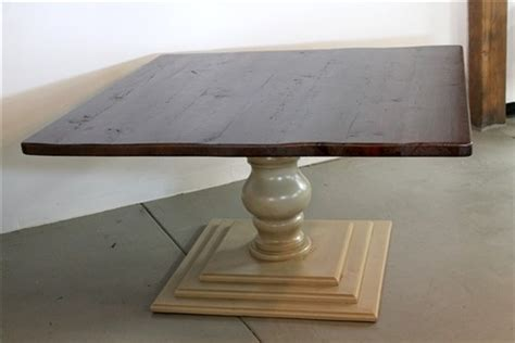 square farm table with tiered pedestal base farmhouse