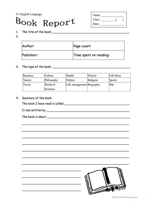 fiction book report form book report worksheet 27 free esl book report worksheets