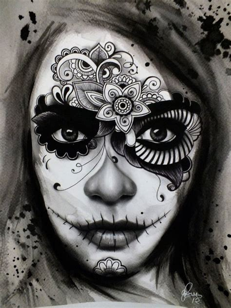 sugar skull lady tattoo designs ideas dead