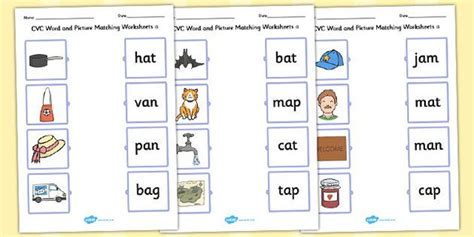 matching cvc words to pictures worksheets cvc word and picture matching worksheets a reading awesome pictures and rhyming