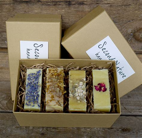 Boxes For Handmade Soap - gift box of three or four handmade soaps by second nature