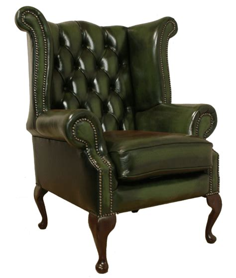green leather and chair chesterfield armchair high back fireside wing