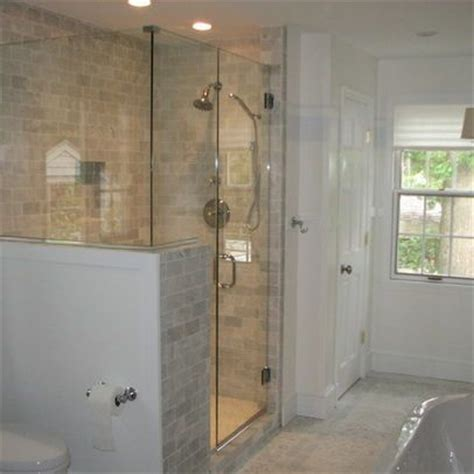 Half Wall Shower Glass Half Wall Glass Shower Search Bathrooms
