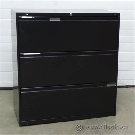 3 Drawer Lateral File Cabinet Black Meridian Black 3 Drawer Lateral File Cabinet Locking Allsold Ca Buy Sell Used Office