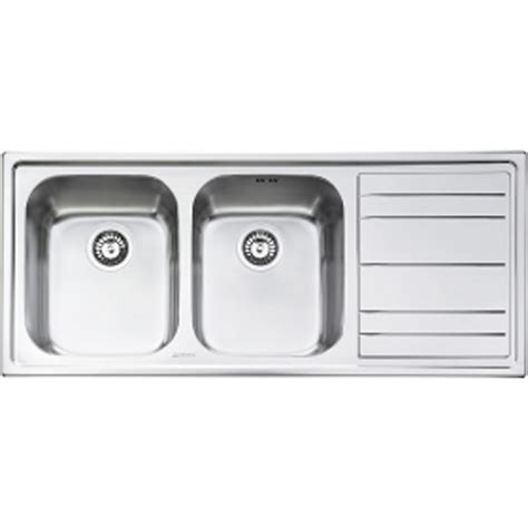 Smeg Kitchen Sinks Smeg Rigae 2 0 Bowl Stainless Steel Kitchen Sink Right Handed In Brushed Finish