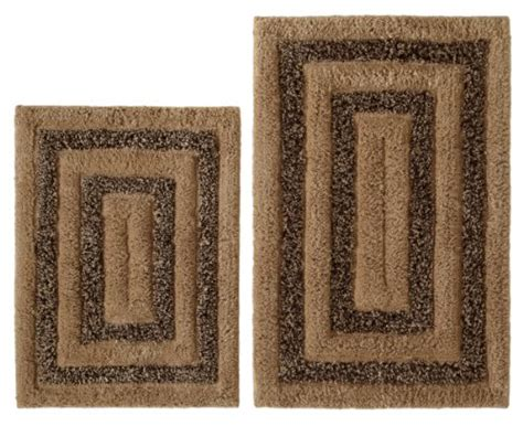 brown patterned bathroom rugs cotton craft 2 piece bath rug set tweed race track beige