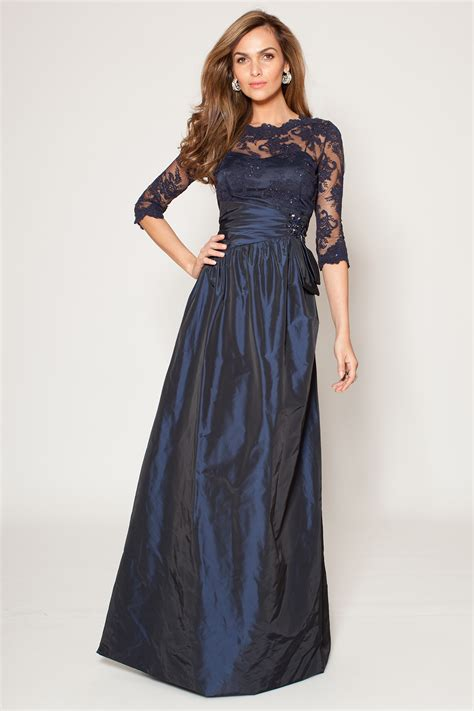 Teri Jon Long Sleeve Lace and Taffeta Gown   Teri Jon