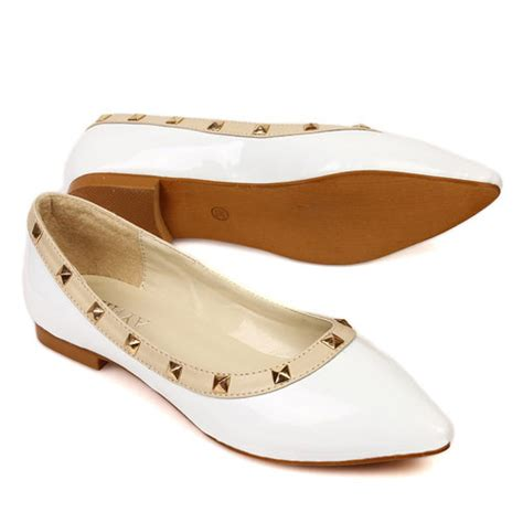 Low Heel Pointed Flats casual pointed toe closed basic low heel white pu flats
