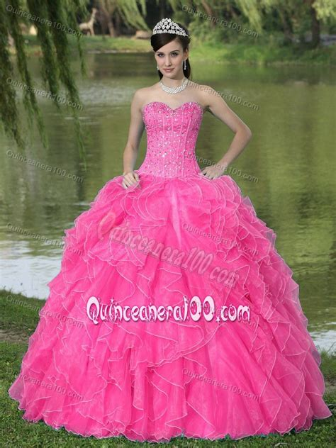 Pink Sweet Lace Dress 17835 beading ruffled pink sweet 16 dresses with lace up