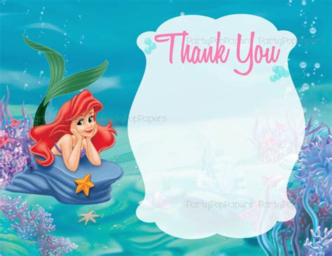 Printable Little Mermaid Thank You Cards | ariel the little mermaid thank you card