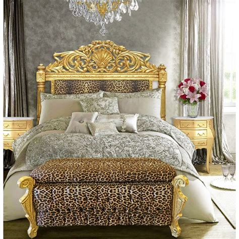 Baroque Bed Headboard Leopard Fabric And Gold Wood Gold Fabric Headboard