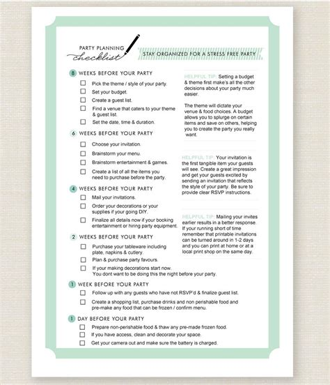 planning checklist is a guaranty of a successful