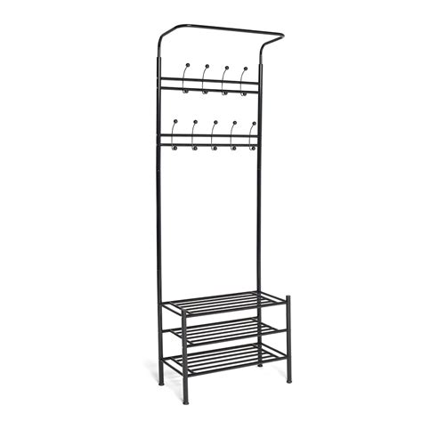 Shoe Rack Coat Stand by Vinsani Black Metal Multi Function Clothes Coat Stand