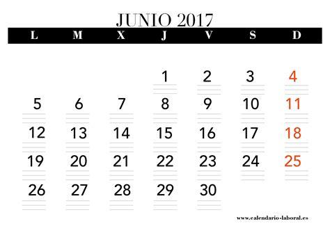 Calendario 2017 Junio Junio 2017 Calendario Laboral