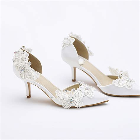 kitten heel pointed toe bridal shoes white satin