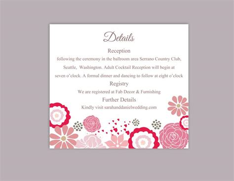 Diy Flower Card Template by Diy Wedding Details Card Template Editable Word File