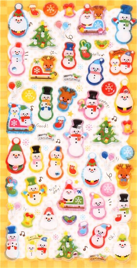 Mosaic Sticker 3d Snowman 3d stickers with kawaii snowmen from japan sticker sheets sticker stationery shop