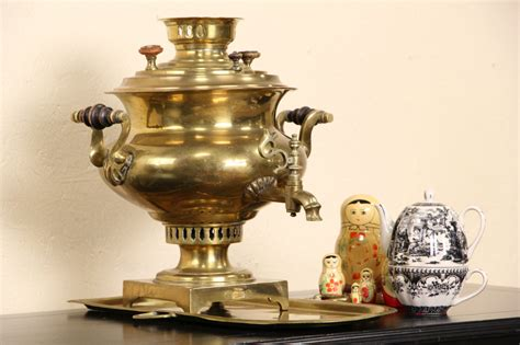 sold russian  brass antique signed samovar tea kettle tray harp gallery