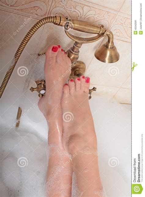 bathroom lady photo lady s feet on bath tap stock image image of nail take