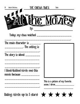 at the movies elementary movie worksheet by crocodiles