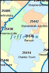 jefferson county zip code map harpers ferry west virginia map