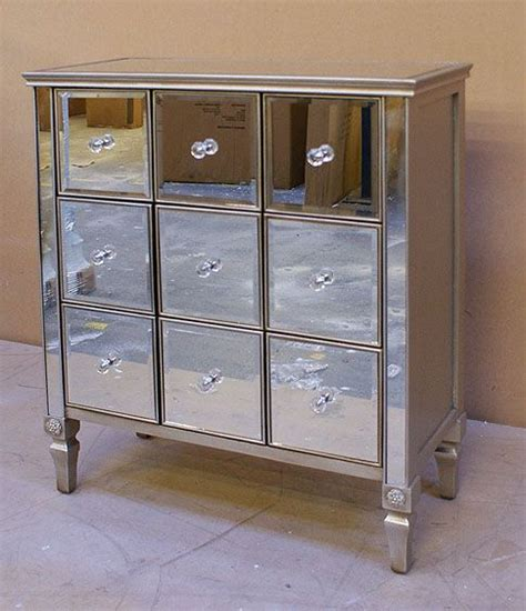 Antiqued Mirrored Nightstand by Antiqued Venetian Mirrored 9 Drawer Square Chest Of