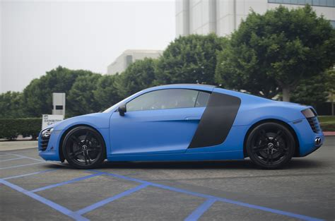 Blue Audi R8 by Matte Blue Audi R8 Matte Blue Audi R8 Leaving Cars And