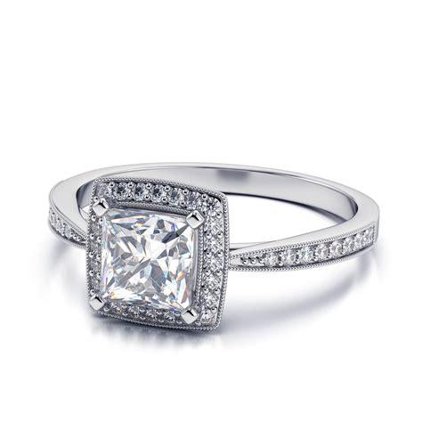 Princess Cut Engagement Rings by Princess Cut Vintage Halo Engagement Rings Www Pixshark