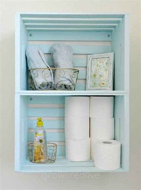 crate shelves bathroom blue wooden crate storage create bathroom storage with