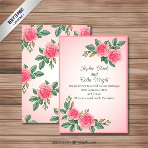 Pink Wedding Invitation Cards by Pink Wedding Invitation Card Vector Premium