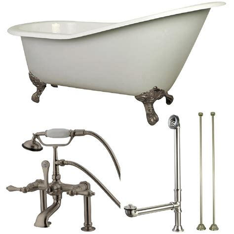 cast iron bathtub faucets aqua eden slipper 5 ft cast iron clawfoot bathtub in