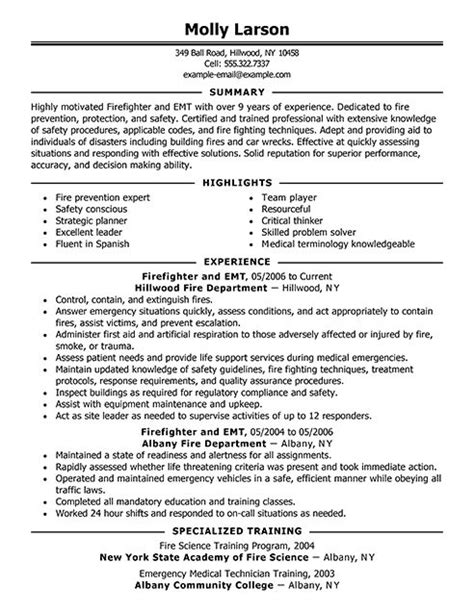 firefighter resume exles emergency services sle