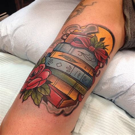 stack of books tattoo stack of books by sam frederick tattoos