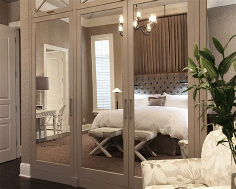 Mirrored Doors For Closet Mirrored Closet Doors Transitional Bedroom Wolfe Rizor Interiors