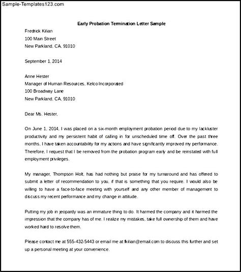 sle termination letter for employee on probation