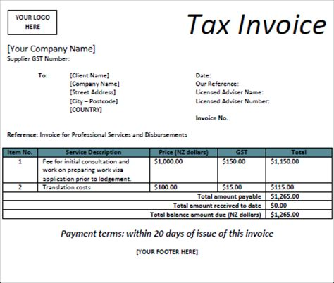 free receipt template nz tax invoice template nz invoice exle