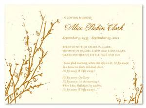 paper for funeral programs tree theme funeral cards memorial branches seeded paper by foreverfiances