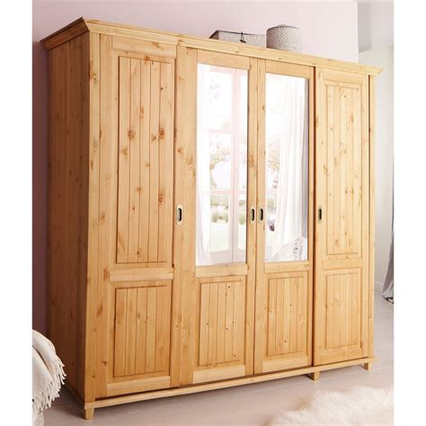Armoire Penderie Portes Coulissantes by Armoire Penderie 4 Portes Coulissantes 2 Miroirs En Pin